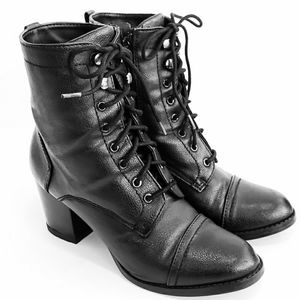 Madden Girl Women's Troppa Lace Up Black Booties 7